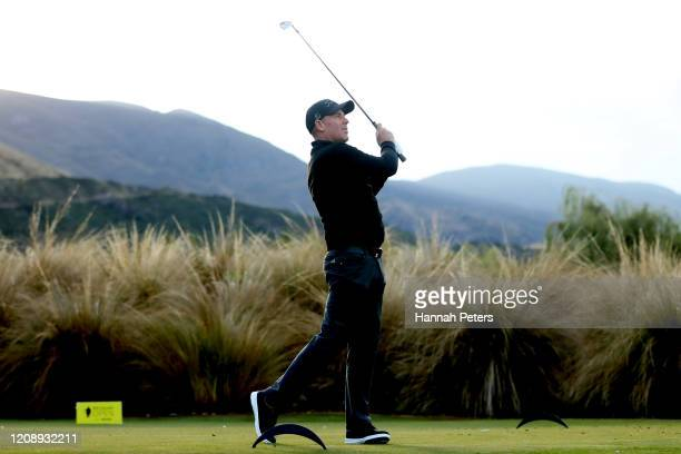 Shane Warne of Australia tees off during day one of the 2020 New Zealand Golf Open at The Hills on February 27, 2020 in Queenstown, New Zealand.
