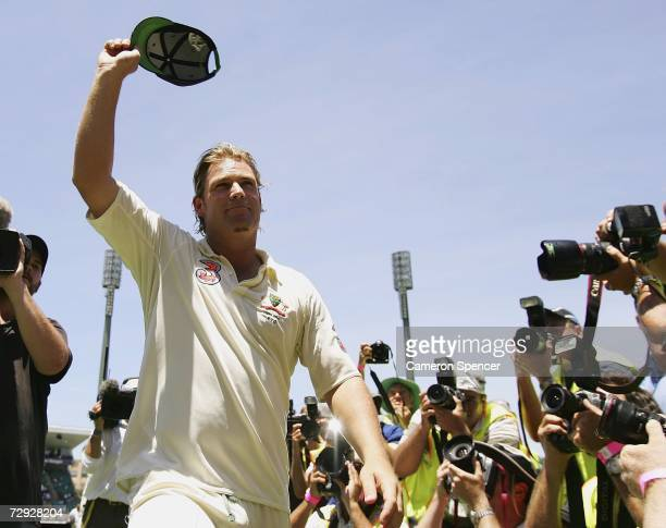 Shane Warne of Australia waves to the crowd for the final time after winning the final test and wrapping up the series 5-0 after winning day four of...