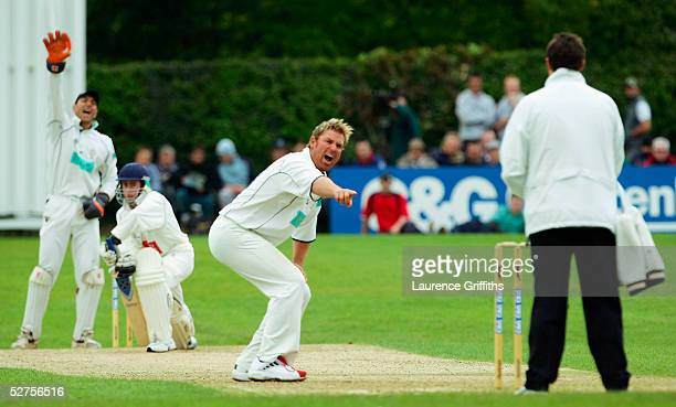 Shane Warne of Hampshire appeals for he wicket of Matthew Tilt of Shropshire lbw for 3 runs during the CG Trophy match between Shropshire and...