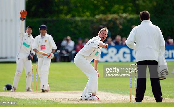Shane Warne of Hampshire appeals for lbw against Mark Downes of Shropshire during the CG Trophy match between Shropshire and Hampshire at Whitchurch...