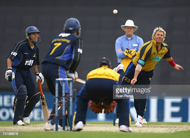 Shane Warne of Hampshire bowls during the Friends Provident Trophy match between Hampshire and Sussex at The Rose Bowl on May 20 2007 in Southampton...