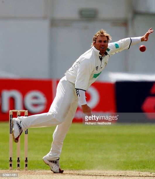 Shane Warne of Hampshire bowls during the Frizzell County Championship Division 1 match between Sussex and Hampshire, at Hove Cricket Ground on April...