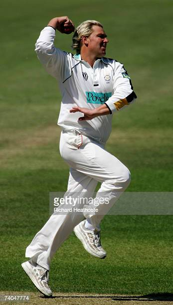 Shane Warne of Hants in action during day one of the LV County Championship match between Hampshire and Yorkshire at The Rose Bowl on May 2, 2007 in...