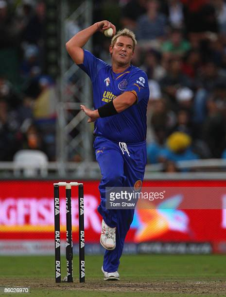Shane Warne of Rajasthan bowls during the IPL T20 match between Rajasthan Royals and Royal Challengers Bangalore at Newlands Cricket Ground on April...