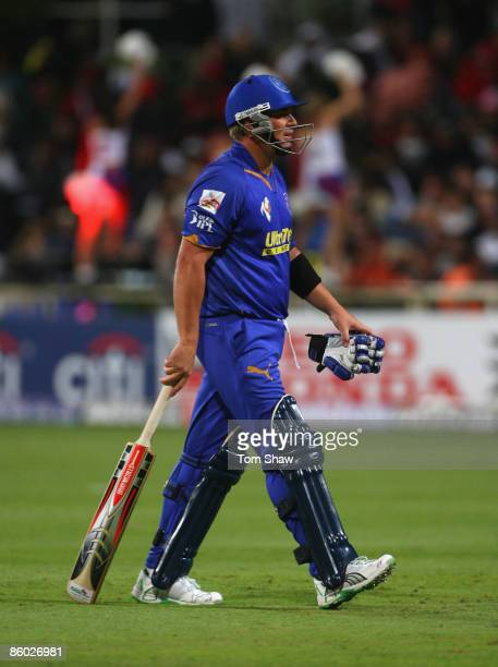 Shane Warne of Rajasthan walks off after his dismissal during the IPL T20 match between Rajasthan Royals and Royal Challengers Bangalore at Newlands...