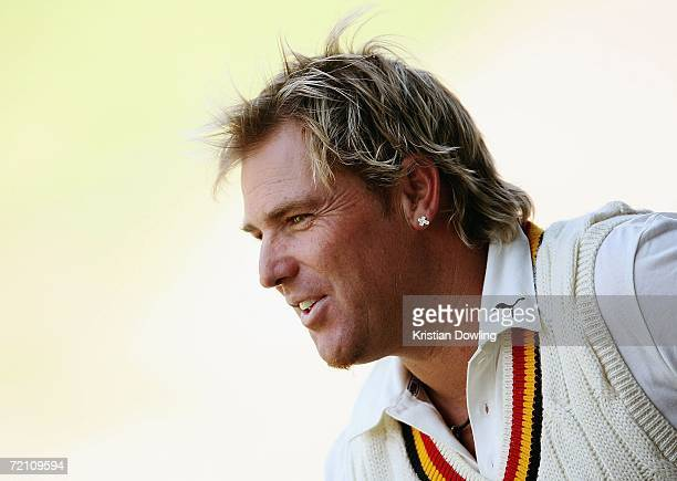 Shane Warne of St Kilda looks on during the Premier Cricket match between St Kilda Saints and Foots-Edgewater Bulldogs at the Junction Oval on...