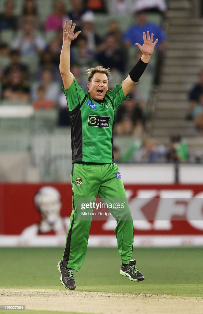 Shane Warne of the Melbourne Stars celebrate his wicket of Alex Doolan during the Big Bash League match between the Melbourne Stars and the Melbourne Renegades at Melbourne Cricket Ground on January 6, 2013 in Melbourne, Australia.