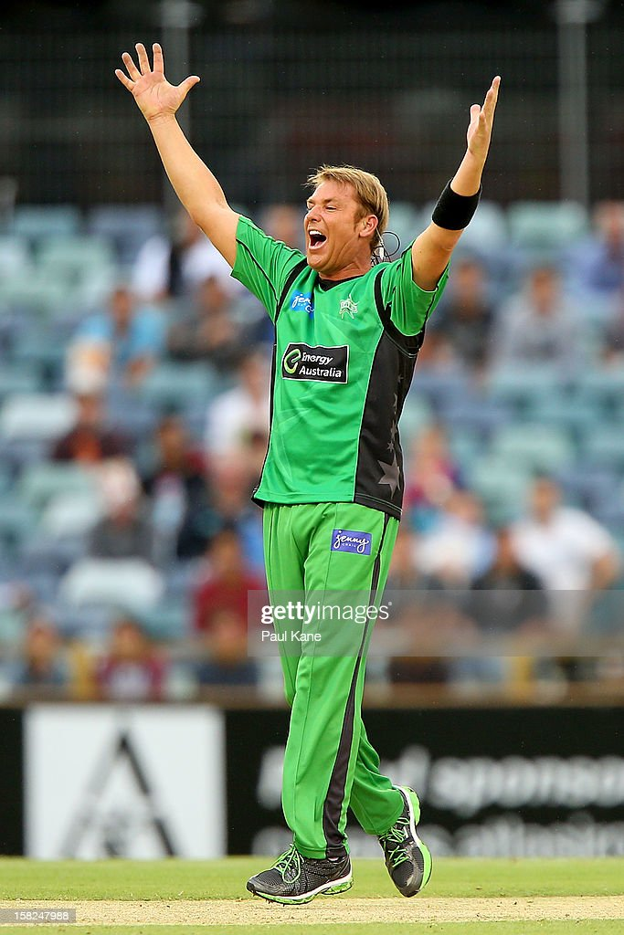 Shane Warne of the Stars appeals for the wicket of Adam Voges of the Scorchers during the Big Bash League match between the Perth Scorchers and the Melbourne Stars at WACA on December 12, 2012 in Perth, Australia.