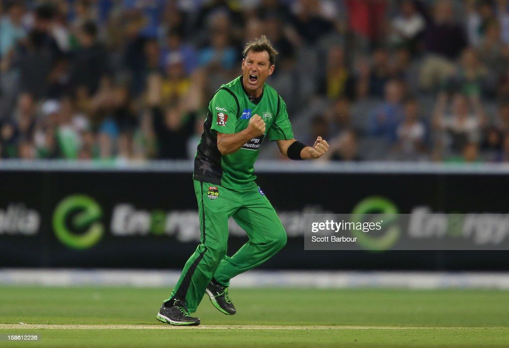 Shane Warne of the Stars celebrates after dismissing Moises Henriques of the Sixers during the Big Bash League match between the Melbourne Stars and the Sydney Sixers at Melbourne Cricket Ground on December 21, 2012 in Melbourne, Australia.
