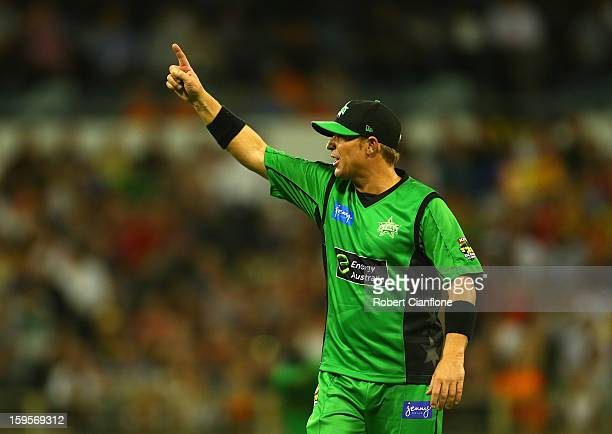 Shane Warne of the Stars gestures during the Big Bash League semifinal match between the Perth Scorchers and the Melbourne Stars at the WACA on...