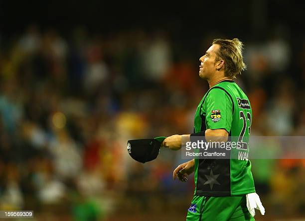 Shane Warne of the Stars looks on during the Big Bash League semifinal match between the Perth Scorchers and the Melbourne Stars at the WACA on...