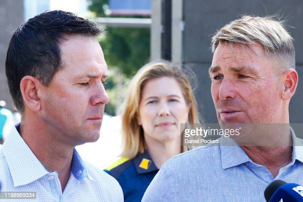 Shane Warne speaks to the media along side Ricky Ponting and Alex Blackwell during a Cricket Australia media opportunity at Melbourne Cricket Ground...