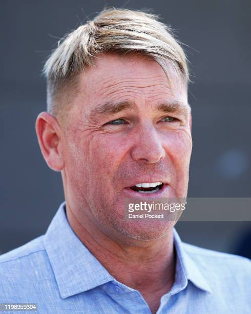 Shane Warne speaks to the media during a Cricket Australia media opportunity at Melbourne Cricket Ground on January 12, 2020 in Melbourne, Australia.