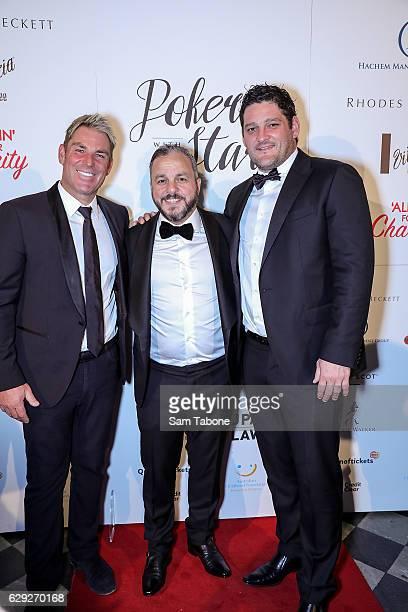 Shane Warne Tony Hachem and Brendan Fevola arrive ahead of Poker With the Stars on December 12 2016 in Melbourne Australia
