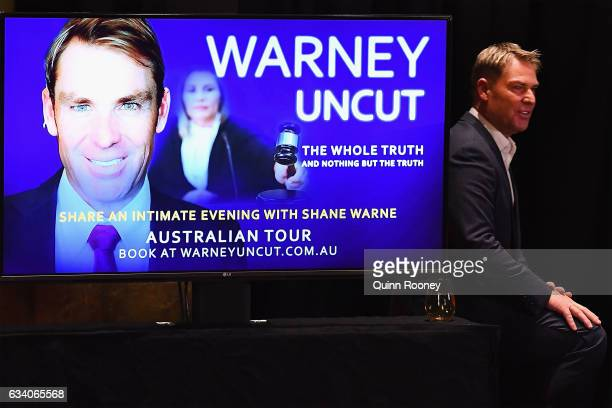 Shane Warne walks on stage at Hamer Hall announcing a national speaking tour titled Warney Uncut on February 7 2017 in Melbourne Australia