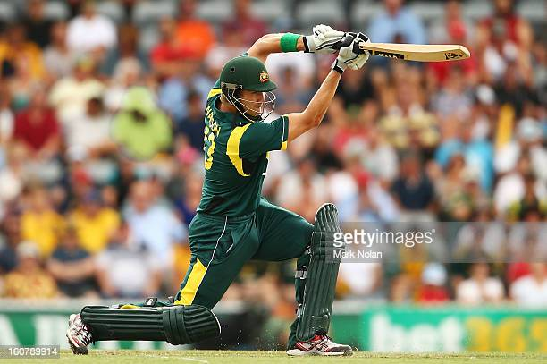 Shane Watson bats during the Commonwealth Bank One Day International Series between Australia and the West Indies at Manuka Oval on February 6 2013...