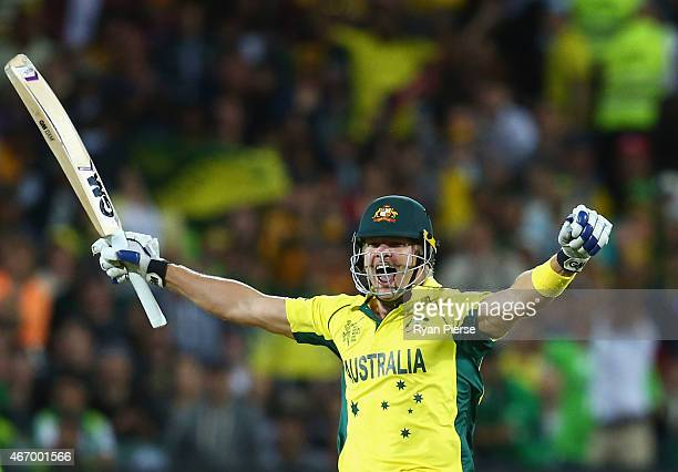 Shane Watson celebrates victory during the 2015 ICC Cricket World Cup match between Australian and Pakistan at Adelaide Oval on March 20 2015 in...