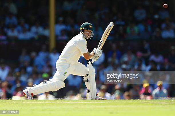 Shane Watson of Australia bats during day one of the Fourth Test match between Australia and India at Sydney Cricket Ground on January 6 2015 in...