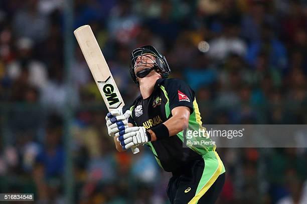 Shane Watson of Australia bats during the ICC World Twenty20 India 2016 Super 10s Group 2 match between Australia and Bangladesh at M Chinnaswamy...