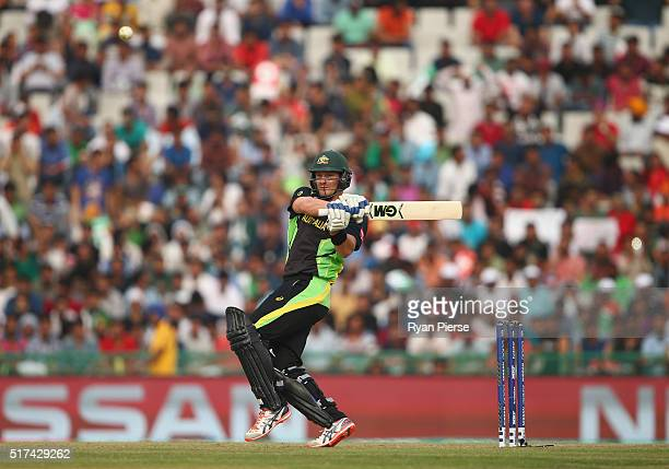 Shane Watson of Australia bats during the ICC WT20 India Group 2 match between Pakistan and Australia at IS Bindra Stadium on March 25 2016 in Mohali...