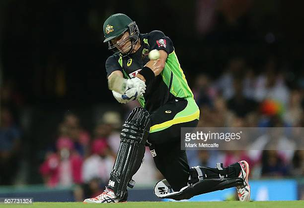 Shane Watson of Australia bats during the International Twenty20 match between Australia and India at Sydney Cricket Ground on January 31 2016 in...