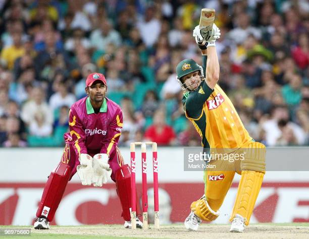 Shane Watson of Australia bats during the Twenty20 International match between Australia and the West Indies at Sydney Cricket Ground on February 23...
