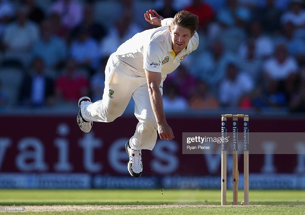 Shane Watson of Australia bowls during day two of the 3rd Investec Ashes Test match between England and Australia at Emirates Old Trafford Cricket Ground on August 2, 2013 in Manchester, England.