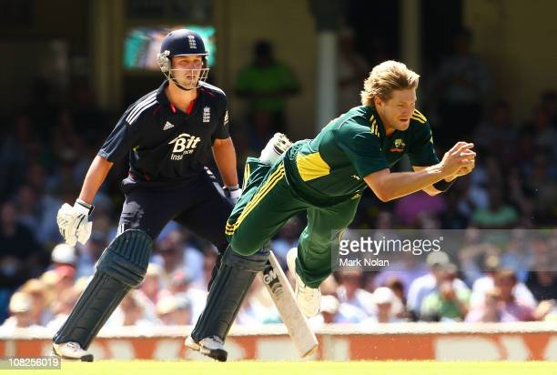 Shane Watson of Australia catches Ian Bell of England off his own bowling during the Commonwealth Bank Series match between Australia and England at...