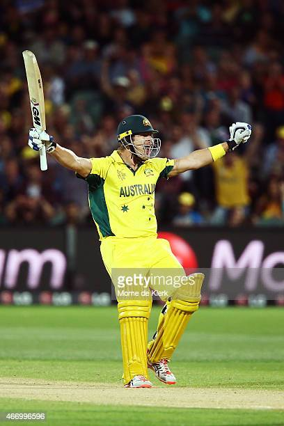 Shane Watson of Australia celebrates after hitting the winning runs during the 2015 ICC Cricket World Cup match between Australian and Pakistan at...