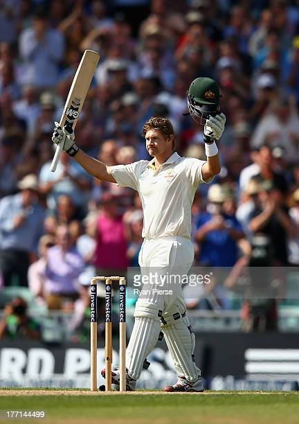 Shane Watson of Australia celebrates after reaching his century during day one of the 5th Investec Ashes Test match between England and Australia at...