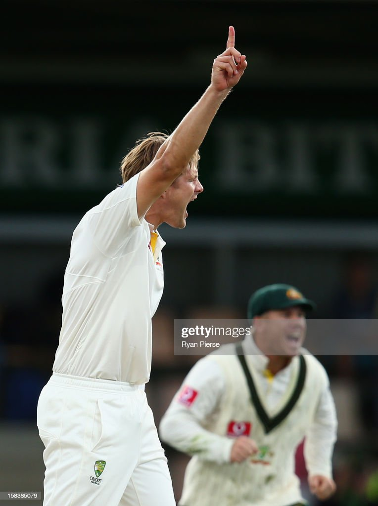 Shane Watson of Australia celebrates after taking the wicket of Mahela Jayawardene of Sri Lanka during day two of the First Test match between Australia and Sri Lanka at Blundstone Arena on December 15, 2012 in Hobart, Australia.