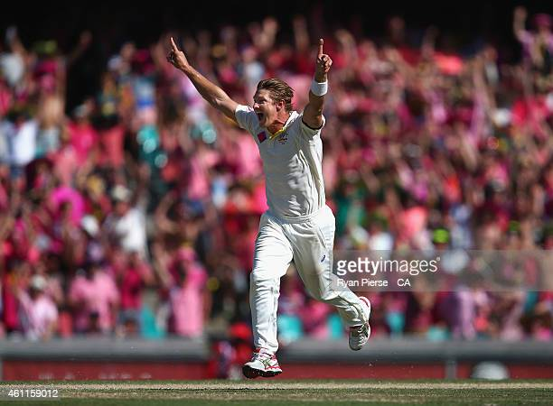 Shane Watson of Australia celebrates after taking the wicket of Suresh Raina of India during day three of the Fourth Test match between Australia and...