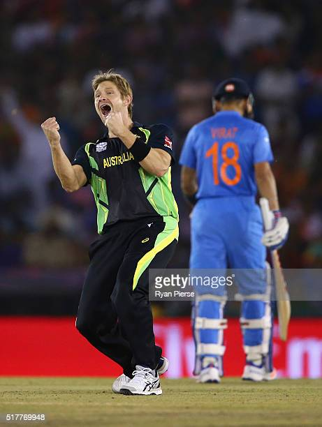 Shane Watson of Australia celebrates after taking the wicket of Suresh Raina of India during the ICC WT20 India Group 2 match between India and...