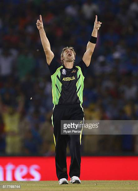 Shane Watson of Australia celebrates after taking the wicket of Rohit Sharma of India during the ICC WT20 India Group 2 match between India and...