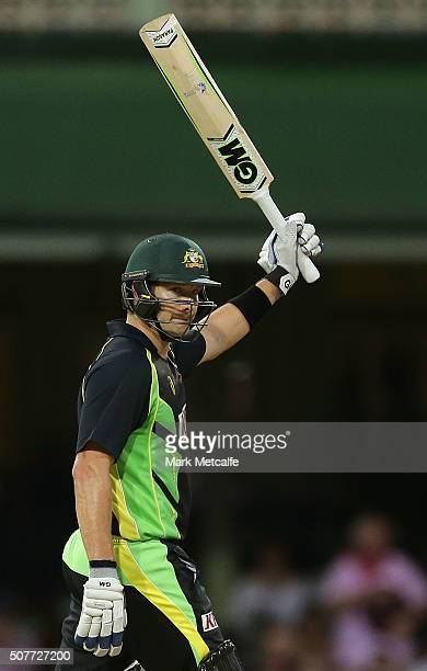 Shane Watson of Australia celebrates and acknowledges the crowd after scoring a half century during the International Twenty20 match between...