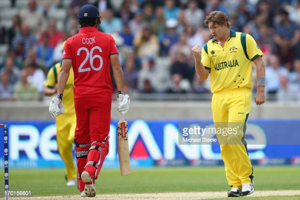 Shane Watson of Australia celebrates capturing the wicket of Alastair Cook of England during the Group A ICC Champions Trophy match between England...