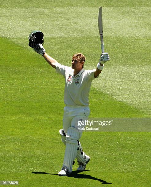 Shane Watson of Australia celebrates his century during day four of the First Test match between Australia and Pakistan at Melbourne Cricket Ground...