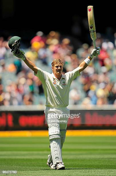 Shane Watson of Australia celebrates reaching 100 during day four of the First Test match between Australia and Pakistan at Melbourne Cricket Ground...