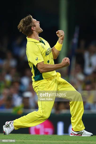Shane Watson of Australia celebrates taking the wicket of Angelo Mathews of Sri Lanka during the 2015 ICC Cricket World Cup match between Australia...