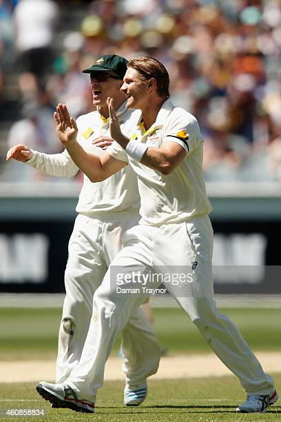 Shane Watson of Australia celebrates taking the wicket of Murali Vijay of India during day three of the Third Test match between Australia and India...