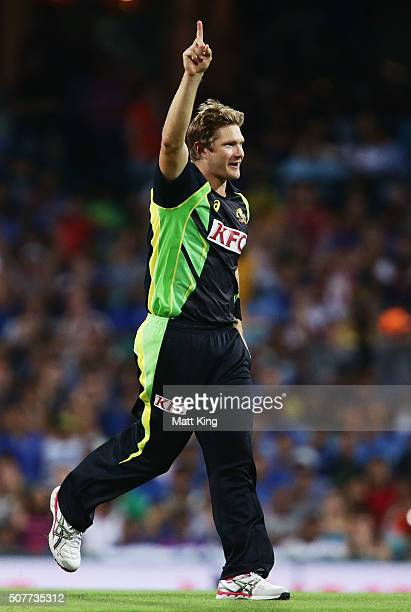 Shane Watson of Australia celebrates taking the wicket of Shikhar Dhawan of India during the International Twenty20 match between Australia and India...