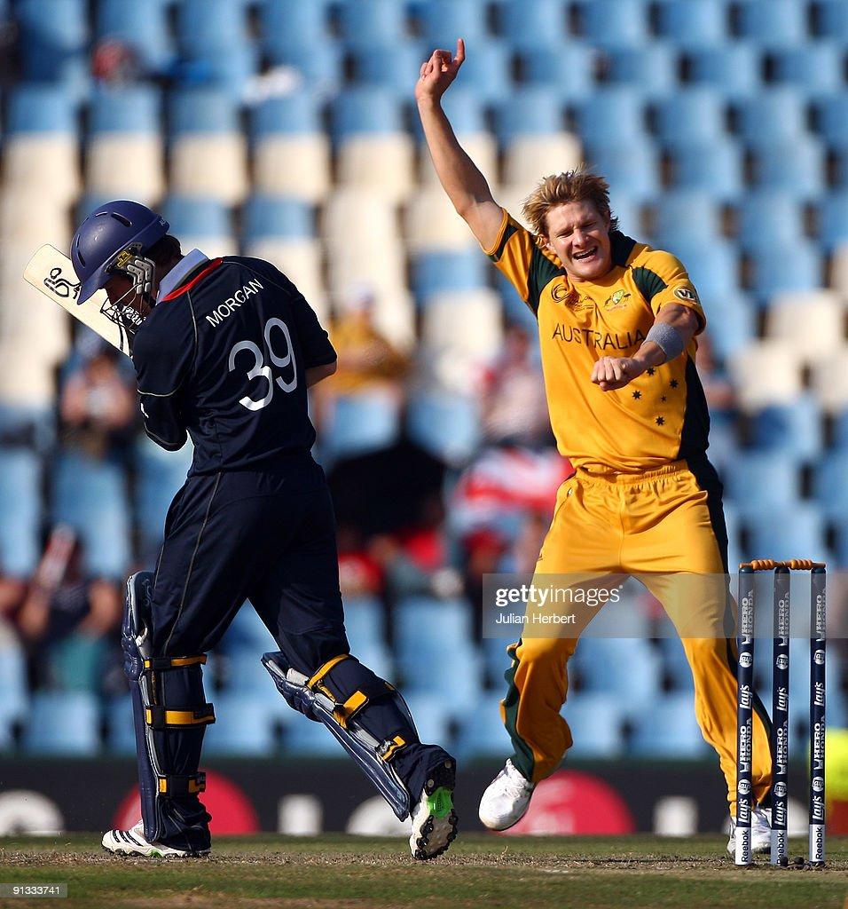 Shane Watson Of Australia Celebrates The Dismissal Eoin Morgan During 1st ICC Champions Trophy