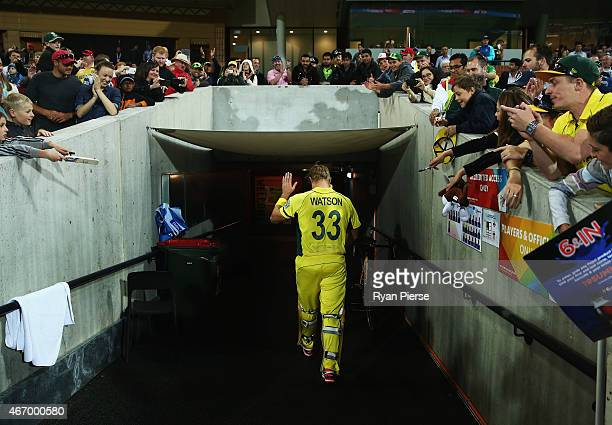 Shane Watson of Australia celebrates victory as he leaves the field during the 2015 ICC Cricket World Cup match between Australian and Pakistan at...