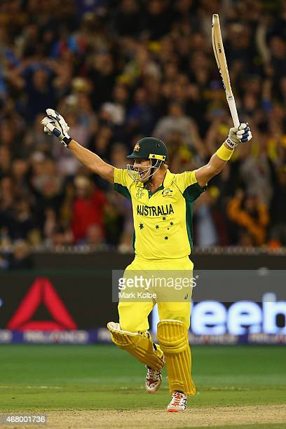 Shane Watson of Australia celebrates victory during the 2015 ICC Cricket World Cup final match between Australia and New Zealand at Melbourne Cricket...