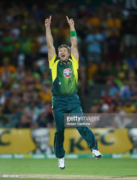 Shane Watson of Australia celebrtaes after taking the final wicket to give Australia victory over England during game five of the One Day...