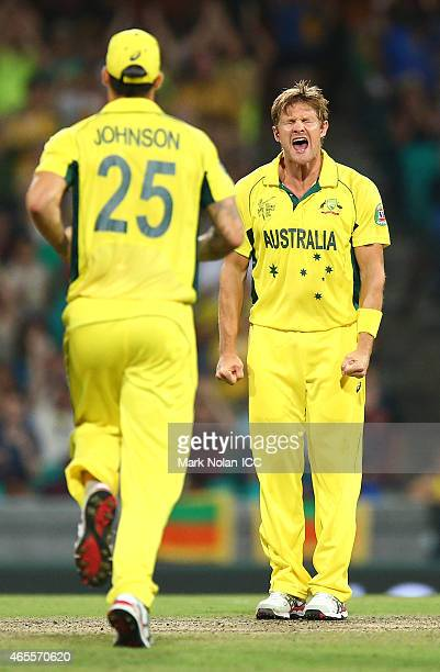 Shane Watson of Australia celebrtaes getting a wicket during the 2015 ICC Cricket World Cup match between Australia and Sri Lanka at Sydney Cricket...