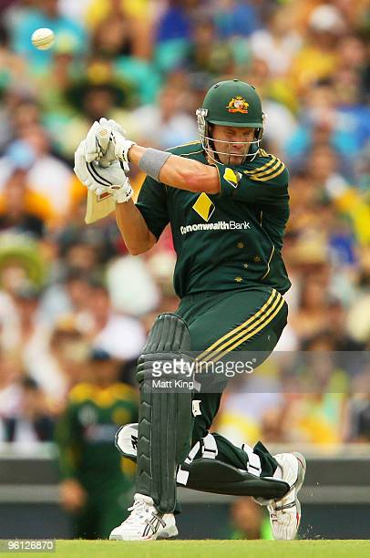 Shane Watson of Australia ducks under a bouncer during the second One Day International match between Australia and Pakistan at the Sydney Cricket...