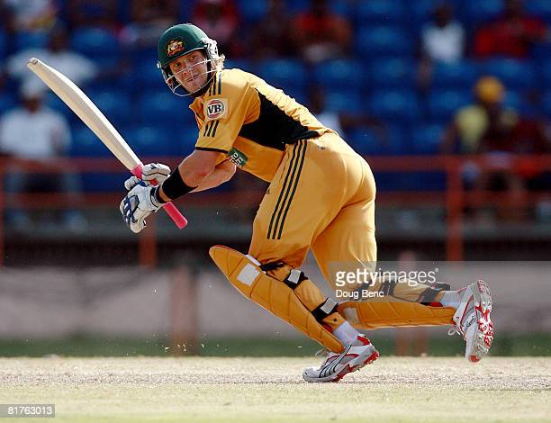 Shane Watson of Australia follows through while batting during the OneDay International game three match between Australia and West Indies at...