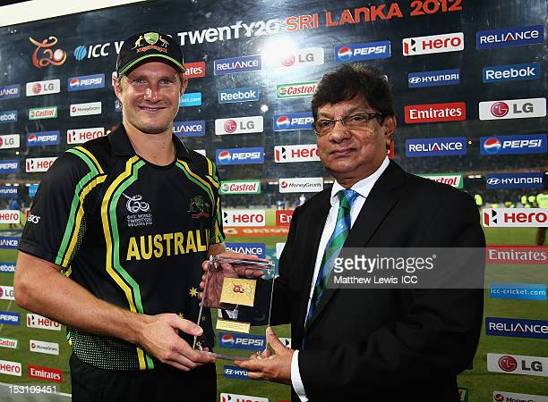 Shane Watson of Australia is presented with his 'Man of the Match' award after the ICC World Twenty20 2012 Super Eights Group 2 match between...