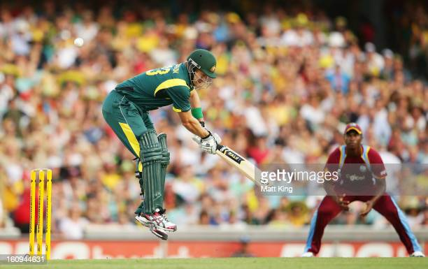Shane Watson of Australia jumps to avoid a ball while batting during game four of the Commonwealth Bank One Day International Series between...